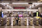 Pouco movimento na estação da Sé da linha 1-azul do metrô, no centro de SP