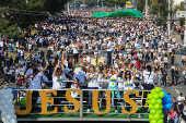 Fiéis durante a 27° edição da Marcha para Jesus 2019, em SP