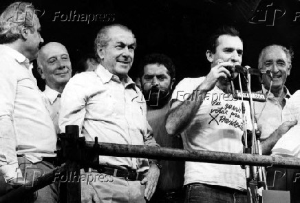 Ulysses Guimarães, Leonel Brizola, Luiz Inácio Lula da Silva, Osmar Santos e Franco Montoro