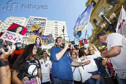 Guilherme Boulos (PSOL) em campanha em Campinas (SP)